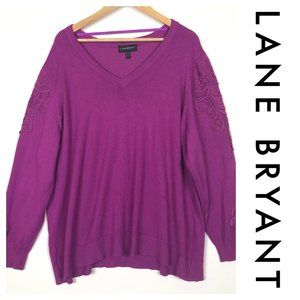 Lane Bryant Embroidered Sleeve Pullover Sweater